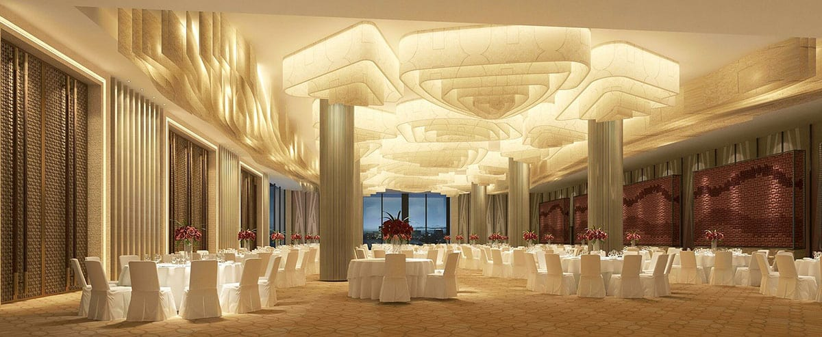 The ballroom of a luxury hotel with hotel financing