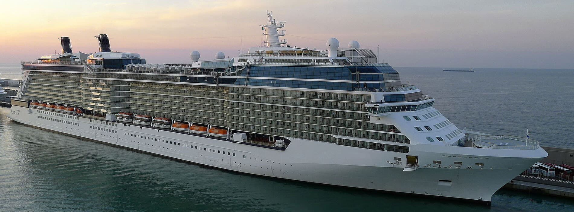 A large white ship, a Cruise Liner, gets ready to set sail
