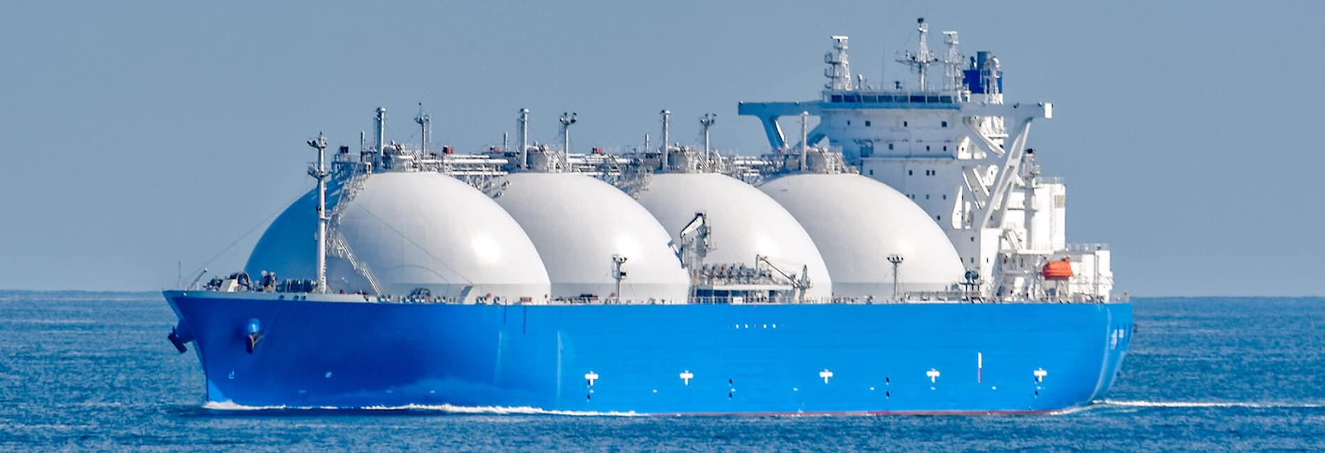 A perfect example of an well kempt LNG Ship (Liquid Natural Gas) in mid-ocean