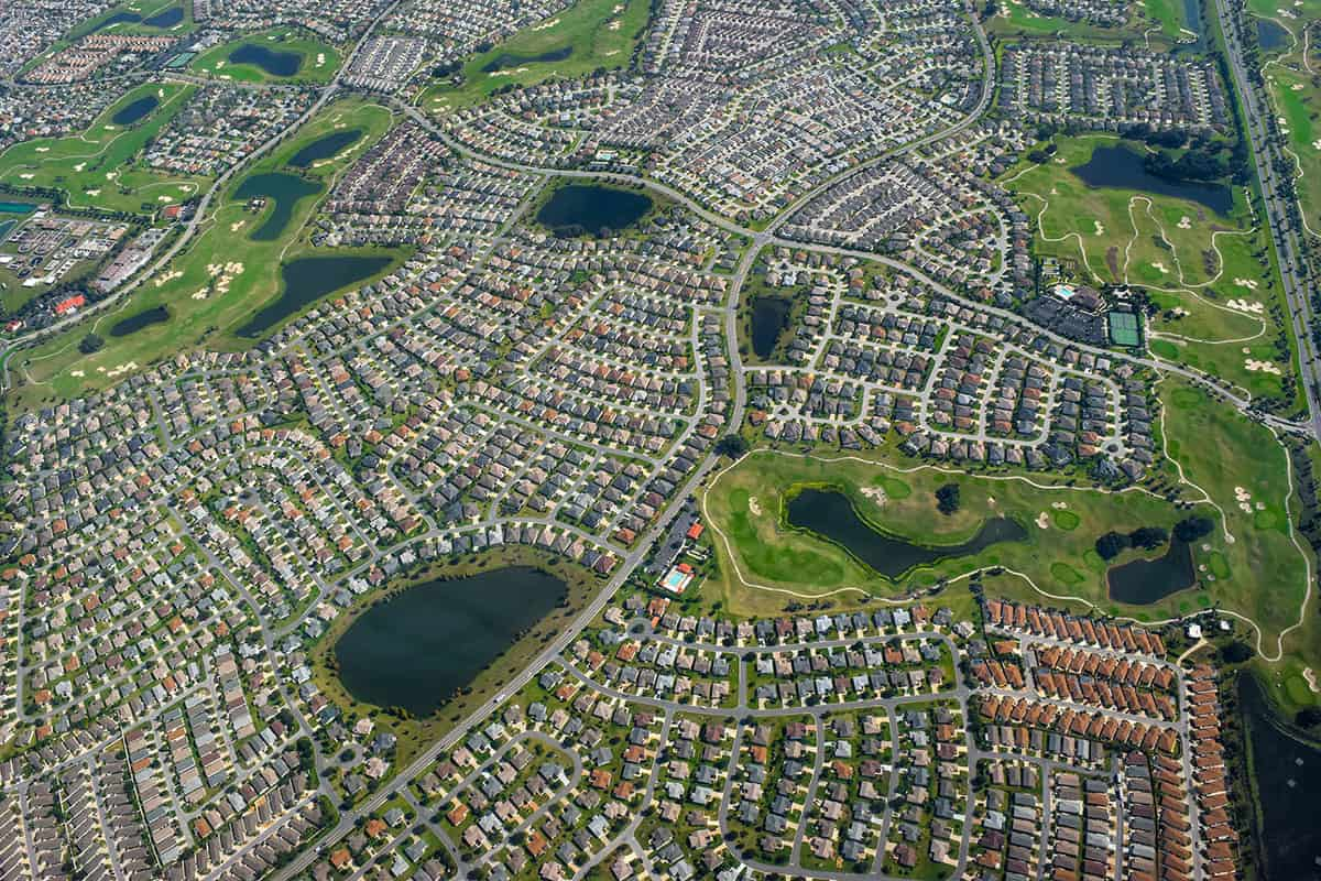 An overhead picture of a large neighborhood