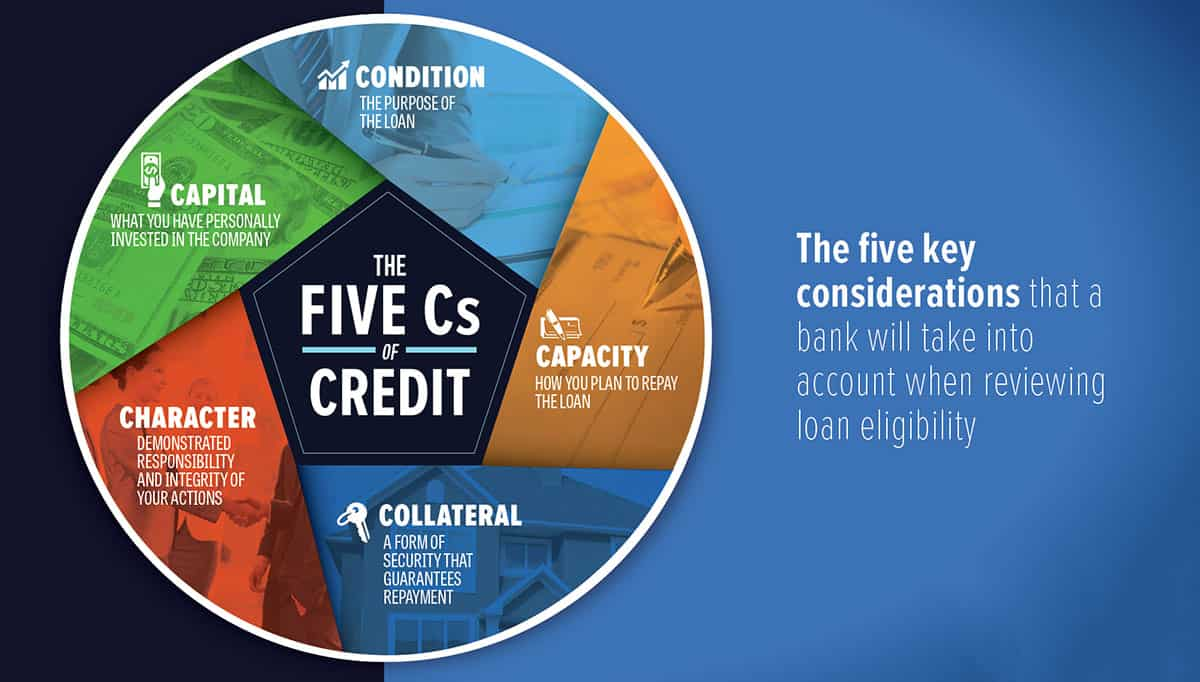 A graphic explaining the 5 most important factors to creditworthiness