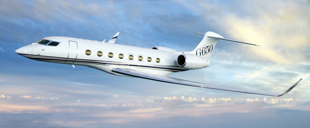 A flying Gulfstream G650 with private jet aircraft financing