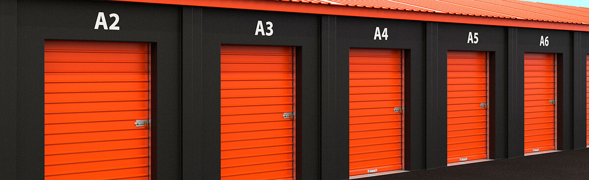 Building Storage Units with red doors