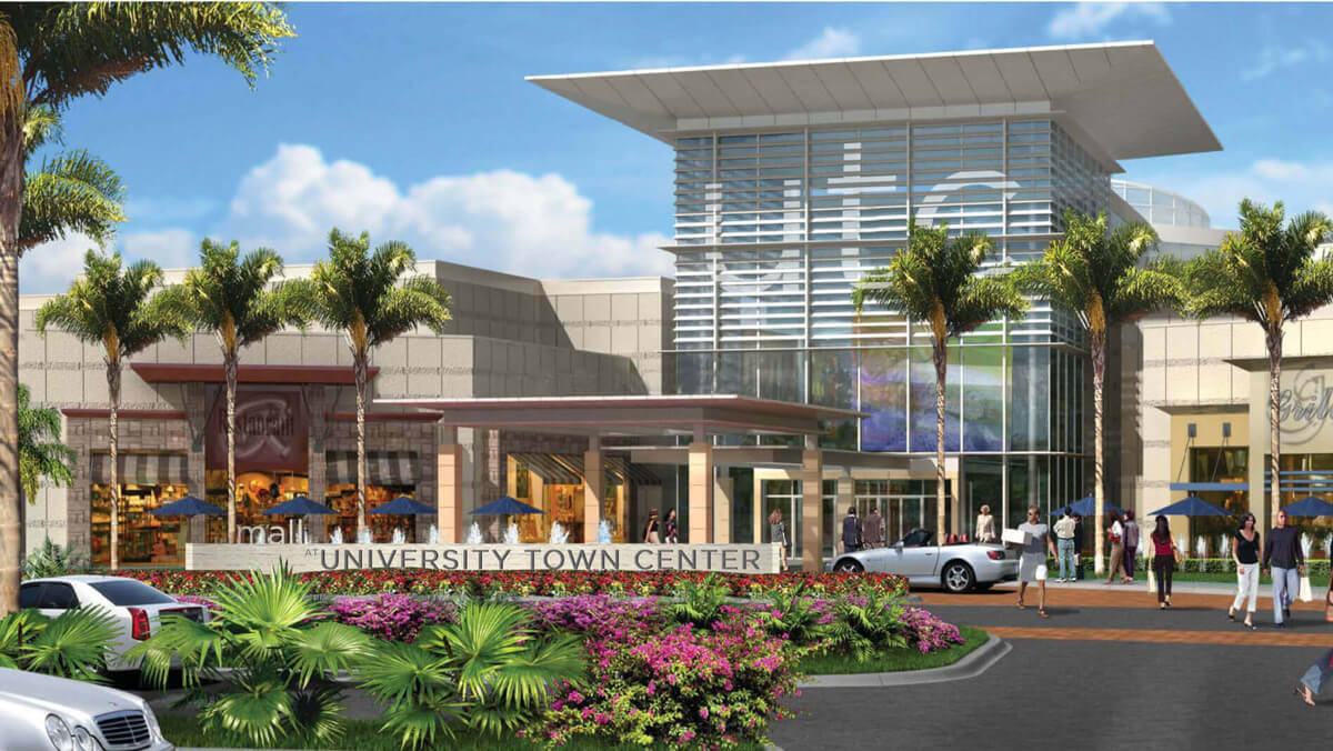 A 3D rendered image of university town center building